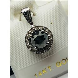 LADIES 14K WHITE GOLD BLACK 17 DIAMOND PENDANT