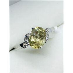 LADIES 10K WHITE GOLD ZULTANITE & SIX DIAMOND RING