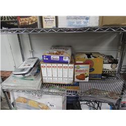 SHELF LOT OF ASSORTED FOOD PRODUCTS & PANS