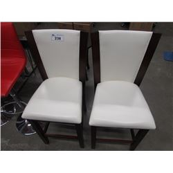 2 OFF-WHITE FAUX LEATHER & WOOD DINING CHAIRS