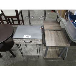 2 SMALL MODERN SIDE TABLES & METAL SIDE TABLE