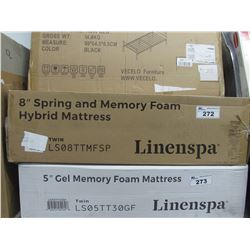 "LINENSPA 8"" TWIN SPRING AND MEMORY FOAM HYBRID MATTRESS TOPPER"