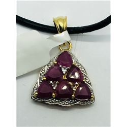 GOLD-PLATED STERLING SILVER RUBY  PENDANT