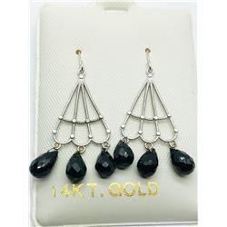14K WHITE GOLD BLACK ONYX(5.6CTS)  EARRINGS