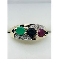 GOLD-PLATED STERLING SILVER SAPPHIRE  RUBY EMERALD RING