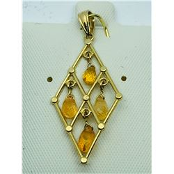 14K YELLOW GOLD SAPPHIRE (SEPTEMBER BIRTHSTONE)(4CTS)  PENDANT