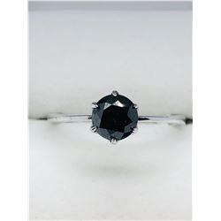 10K WHITE GOLD BLACK DIAMOND(0.9CTS)  RING (~SIZE 6)