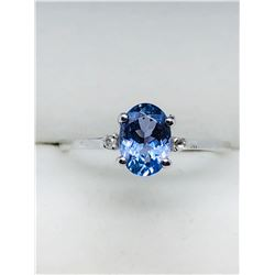 10K TANZANITE & 2 DIAMOND RING