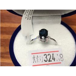 10K WHITE GOLD BLUE SAPPHIRE(1CTS)  DIAMOND(0.02CTS.)  RING (~SIZE 7),