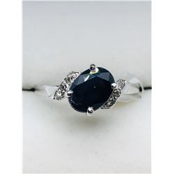 10K WHITE GOLD SAPPHIRE (SEPTEMBER BIRTHSTONE)(1.5CTS)  DIAMOND(0.06CTS.)  RING