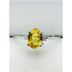 10K WHITE GOLD YELLOW SAPPHIRE(1CTS)  DIAMOND (0.02CTS.)  RING (~SIZE 7)