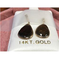 14K YELLOW GOLD AMMOLITE  DIAMOND (0.09CTS.)  EARRINGS