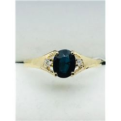 10K YELLOW GOLD SAPPHIRE (SEPTEMBER BIRTHSTONE)(0.55CTS)  DIAMOND(0.03CTS.)  RING