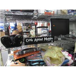 DELL MONITOR, 2 AUTOMATIC CARD SHUFFLERS, CARDS AGAINST MUGGLES, PLASTIC AQUARIUM, FREDDY KRUGER