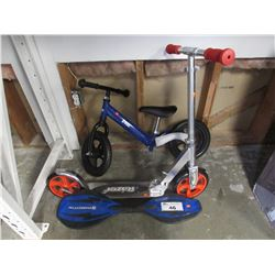 CHILDS KOBE BIKE, BALANCE BOARD & RAZOR SCOOTER