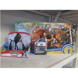 JURASSIC WORLD IMAGINEXT JURASSIC REX, TRANSFORMERS STRONGARM, POKEMON NECROZMA TOYS