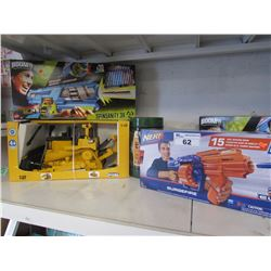 BOOMCO SPINSANITY 3X GUN, TUB OF ARMY MEN, NERF N-STRIKE ELITE SURGEFIRE, CAT 1:16 TOY