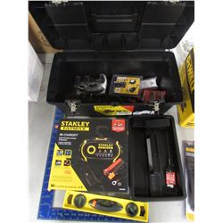 STANLEY TOOL BOX & CONTENTS, SMALL LEVEL, FRAMING SQUARE, STANLEY FATMAX RE-CHARGE IT MULTI-VOLT