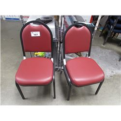 2 RED FAUX LEATHER & METAL CHAIRS