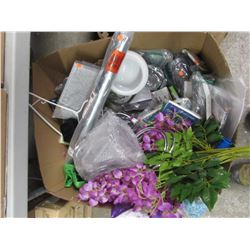 BOX OF ASSORTED HOUSEHOLD ITEMS & DECOR