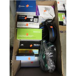 BOX OF ASSORTED ELECTRONICS, HEADPHONES, HDMI CABLE SWITCH, OOMA HD3 HANDSET, ETC