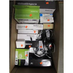 BOX OF ASSORTED ELECTRONICS, STARTECH GEAR, WYZECAM CAMERAS, CCTV CAMERA, HDMI CABLE SWITCH,