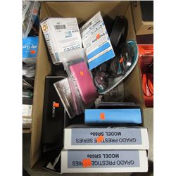 BOX OF ASSORTED GRADO HEADPHONES, PHONE ACCESSORIES, HEADPHONES, CD & DVD SLEEVES, CDS, ETC