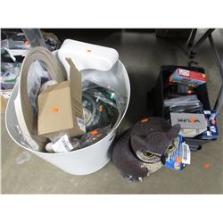 WHITE BUCKET OF ASSORTED MISC, ROTATING HEAD OWL SCARECROW, BATTERY BOX WITH DVDS, GAMES & MOVIES