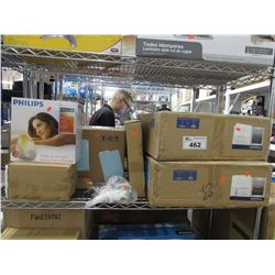 2 BOXED QUOIZEL TF1400SVB LIGHT FIXTURES, PHILIPS WAKE-UP LIGHT, CHANDELIER PARTS, ASSORTED