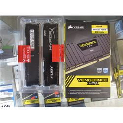 HYPERX FURY 8GB DDR4 2133MHZ MEMORY KIT & CORSAIR VENGEANCE LPX 16GB KIT 2133MHZ