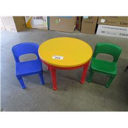 SMALL PLASTIC CHILDS TABLE & 2 CHAIRS