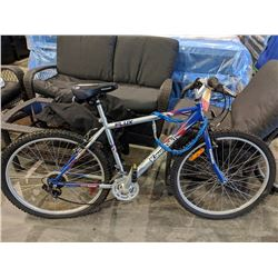 BLUE/SILVER/RED KAWASAKI FLIX 18-SPEED MOUNTAIN BIKE