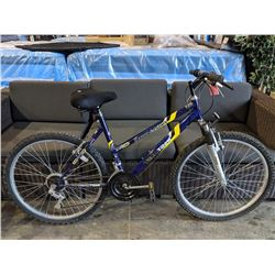 PURPLE/YELLOW TECHTEAM RAZOR CANYON 15-SPEED MOUNTAIN BIKE