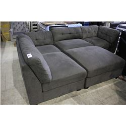 DARK GREY SECTIONAL SOFA WITH MATCHING OTTOMAN