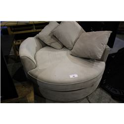 CREAM ROUND CUDDLE COUCH - BROKEN FRAME