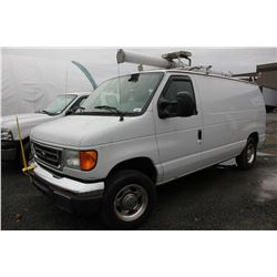 2007 FORD E150, WHITE, VAN, GAS, AUTOMATIC, VIN#1FTNE14WX7DB33671, 68,456KMS,