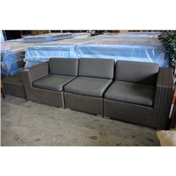 MODERN 3 PIECE SECTIONAL PATIO SOFA SET WITH OTTOMAN