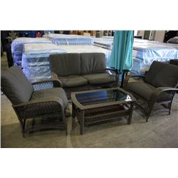 WICKER 3 PIECE OUTDOOR PATIO SET WITH COFFEE TABLE