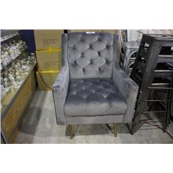 GREY BUTTON BACK ARM CHAIR