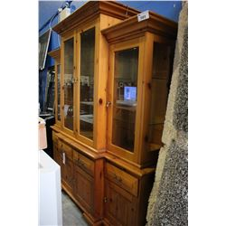 SOLID PINE ILLUMINATED GLASS FRONT HUTCH & BUFFET