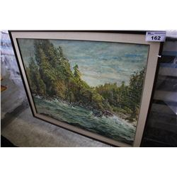 "LARGE ""RIVER SCENE"" FRAMED PAINTING"