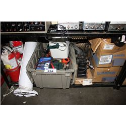 SHELF LOT OF ASSORTED TOOLS, MOEN PLUMBING PARTS & MORE