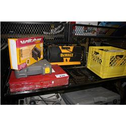 SHELF LOT WITH DEWALT RADIO, POWER TOOLS & MORE