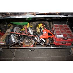 SHELF LOT OF ASSORTED POWER TOOLS & FLOOR JACK