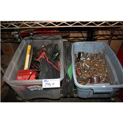 2 BINS OF ASSORTED POWER TOOLS & SOCKETS