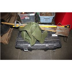 HUSKY TOOL CHEST WITH CONTENTS & OVERALL WADERS