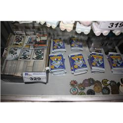 SHELF LOT OF ASSORTED COLLECTOR SPORTS CARDS & POGS