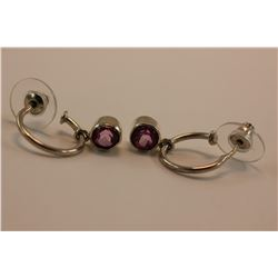 PINK TOURMALINE (RUBELLITE) EARRINGS, ROUND BRILLIANT CUT SET IN HEAVY STERLING MOUNTS, VERY BRIGHT