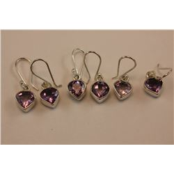 3 PAIRS OF AMETHYST EARRINGS, BRIGHT LIVELY PURPLE, HEART SHAPED, SET IN HEAVY STERLING SILVER