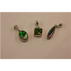 3 AMMOLITE PENDANTS, SPECTACULAR BLUE GREEN FIRE COLOR, SET IN STERLING SILVER MOUNT